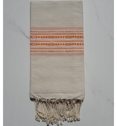 Thalasso beige with orange patterns fouta