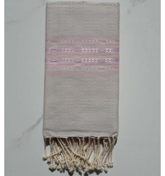 Thalasso ecru and pale pink fouta