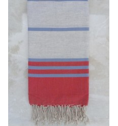 Red,light grey and blue throw
