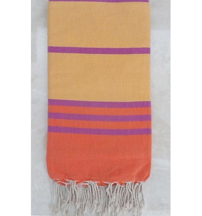 Orange yellow and mauve throw