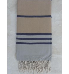 Grey blue and beige throw