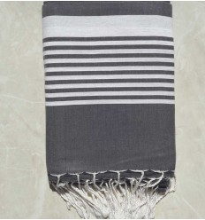 Slate grey striped throw