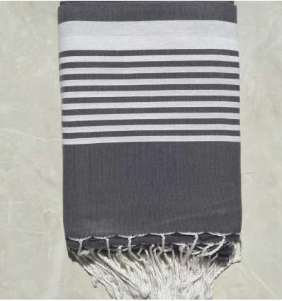 Slate grey striped throw