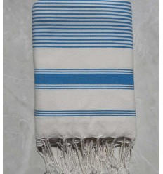 Creamy white striped azure blue throw