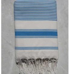 Creamy white striped azure blue throw
