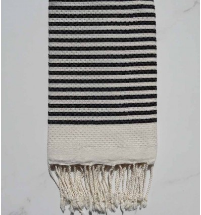 Honeycomb striped 1cm black stripes fouta