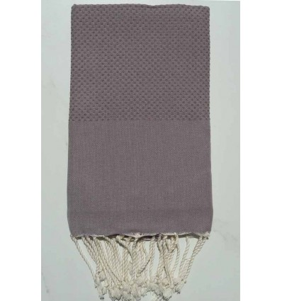 Plain Honeycomb taupe purple Fouta
