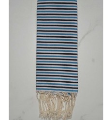 Ziwane azure blue,black and white child fouta