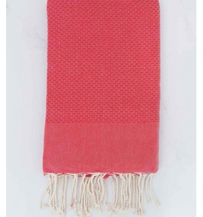 Plain honeycomb bright red fouta
