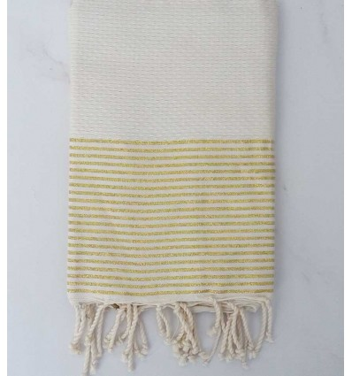 Honeycomb white cream Lurex Fouta