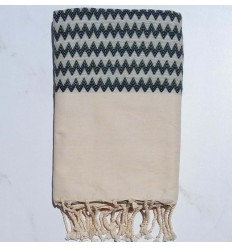 Zigzag white cream and forest green Fouta