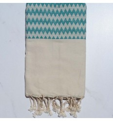 Zigzag white cream beach towel