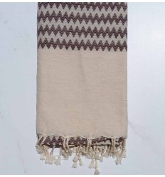 Zigzag ecru and brown Fouta