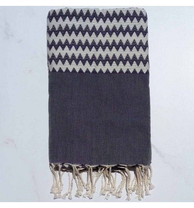 Zigzag dark gray Fouta