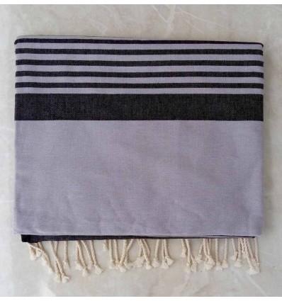 gray horizon with stripes throw