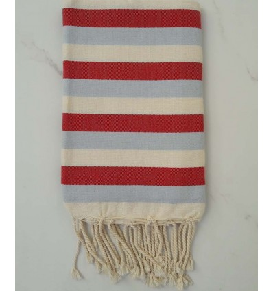 Ziwane blue, red and white cream Fouta