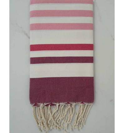 White, pink and mauve Fouta