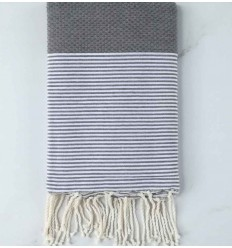 HONEYCOMB putty grey striped white fouta