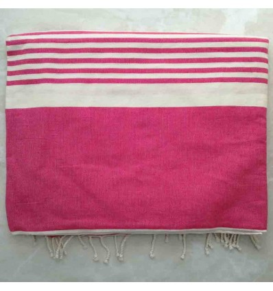 medium pink striped white throw