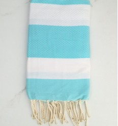 Honeycomb White and turquoise Fouta