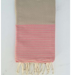 Honeycomb ecru striped pink Fouta