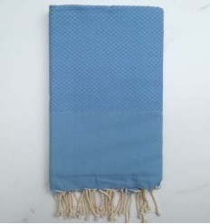 Plain honeycomb maya blue fouta
