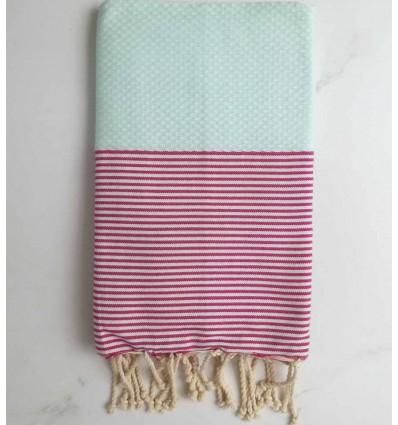 Honeycomb pistachio striped pink fouta