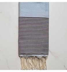 Honeycomb Fouta light blue striped Brown Fouta