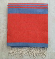 Orange striped blue throw