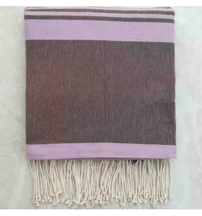 Brown striped striped tropical violet throw