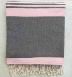 Granite gray striped light pink throw