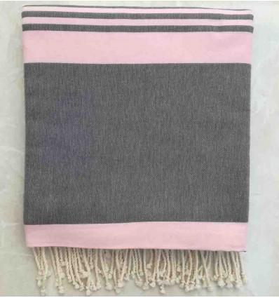 Granite gray striped light pink throw