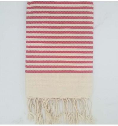 Honeycomb striped 1cm dark pink stripes fouta