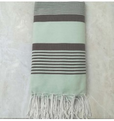 Green and taupe throw 2.5m*2.6m