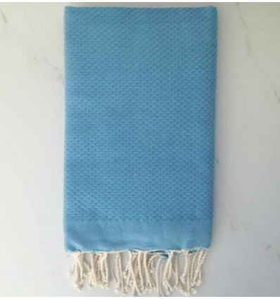 Plain honeycomb cornflower blue fouta