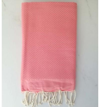 Plain honeycomb salmon pink fouta