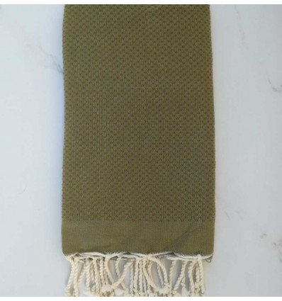 Plain honeycomb khaki green fouta