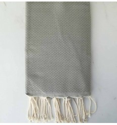 Plain honeycomb beige green fouta