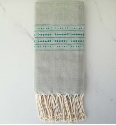 Thalasso sage green with blue patterns fouta