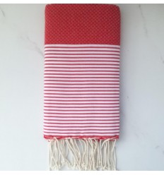 Honeycomb cherry red Fouta