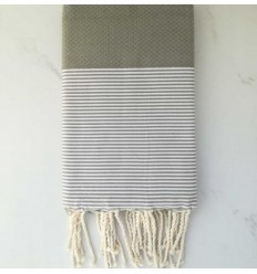 HONEYCOMB green beige striped white fouta