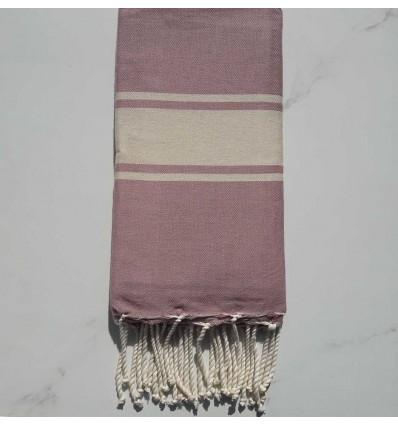 Flat Old rose striped ecru beach towel