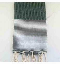Honeycomb veronese green striped white fouta