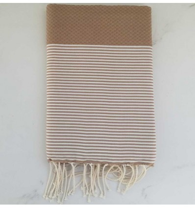 Honeycomb light brown striped white fouta
