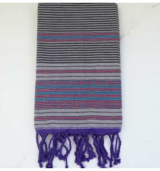arabesque purple light striped anthracite beach towel