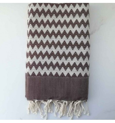 zigzag brown beach towel