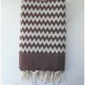 zigzag brown beach towel