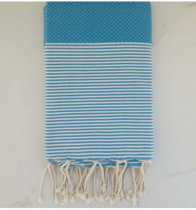 HONEYOMB frost blue striped white fouta