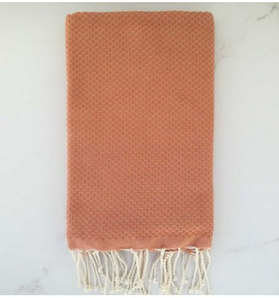 plain honeycomb apricot beach towel