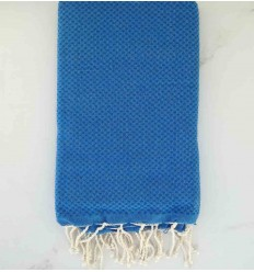 Plain honeycomb azure blue fouta
